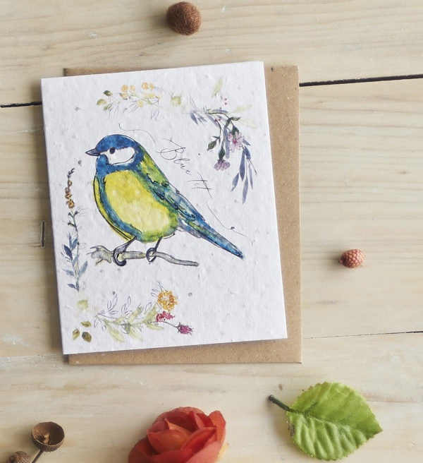 Blue Tit & Flowers Seed Card