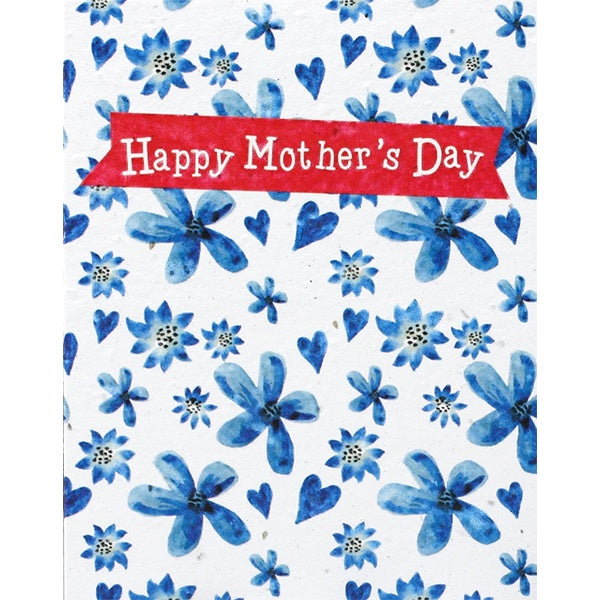 Happy Mother's Day Blue Flowers Seed Card