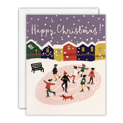 Happy Christmas Ice Skating Mini Pack of 5 Cards