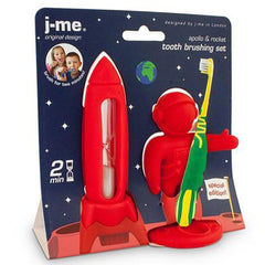 Red Apollo & Rocket Tooth Brushing Set