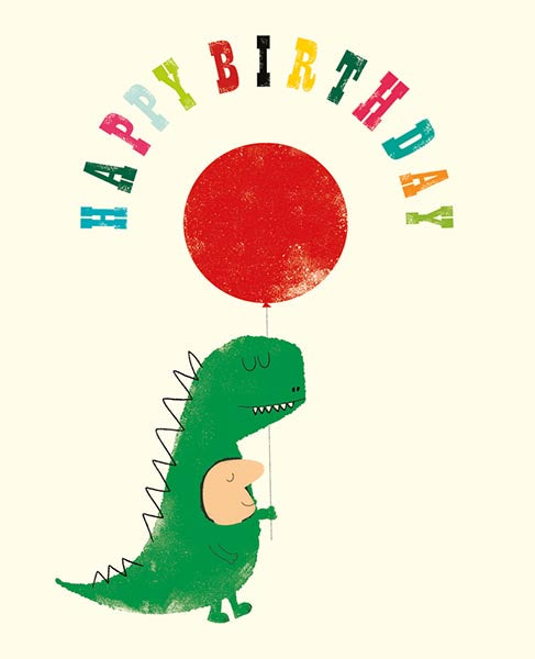 Dino Suit Happy Birthday Card