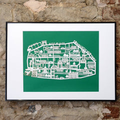 Lasercut A4 Edinburgh New Town Map - White on Green