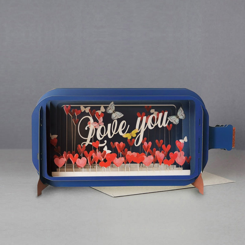 Love You Hearts 3D Message in a Bottle Card