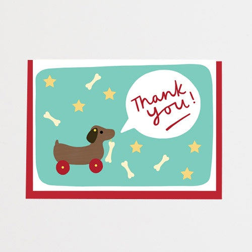 Dog On Wheels Thank You Card
