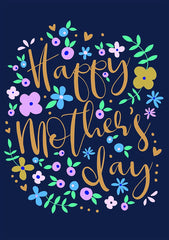 Floral Navy Mother's Day Card