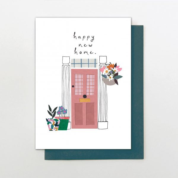 Happy New Home Door and Flowers Card