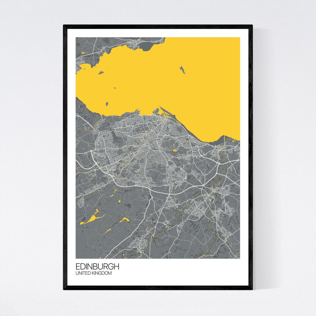 Edinburgh Dark Grey, Yellow and Off White Map Print in Tube 50x70cm