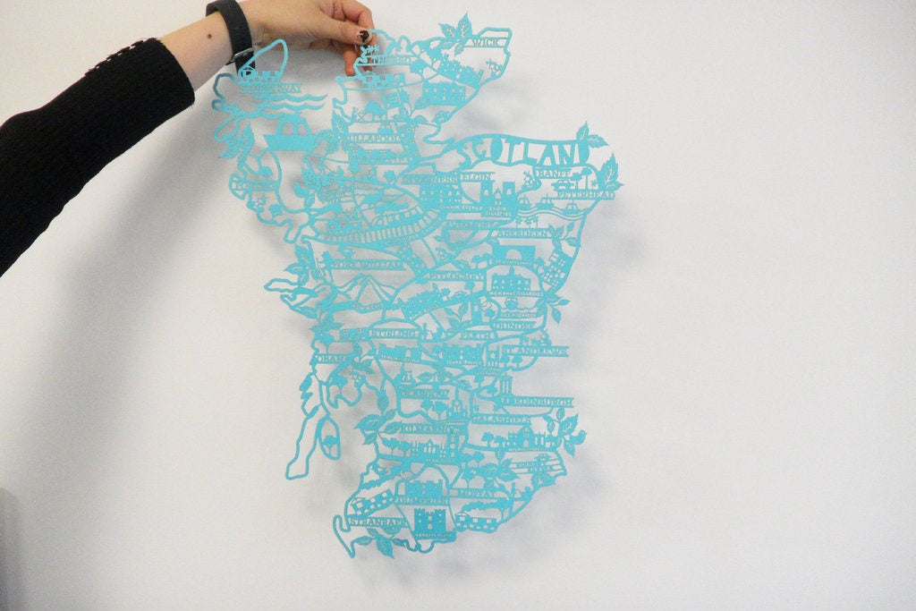 Lasercut A4 Scotland Map in Tube - Blue