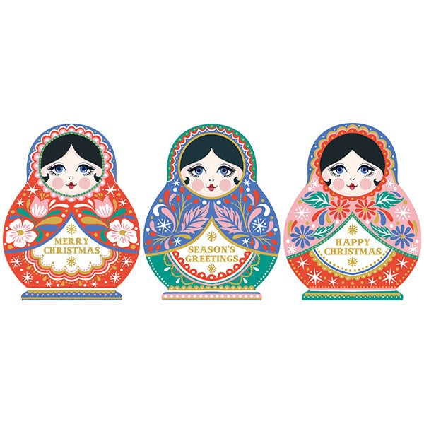 Festive Dolls Foiled Boxed Trio of 12 Cards