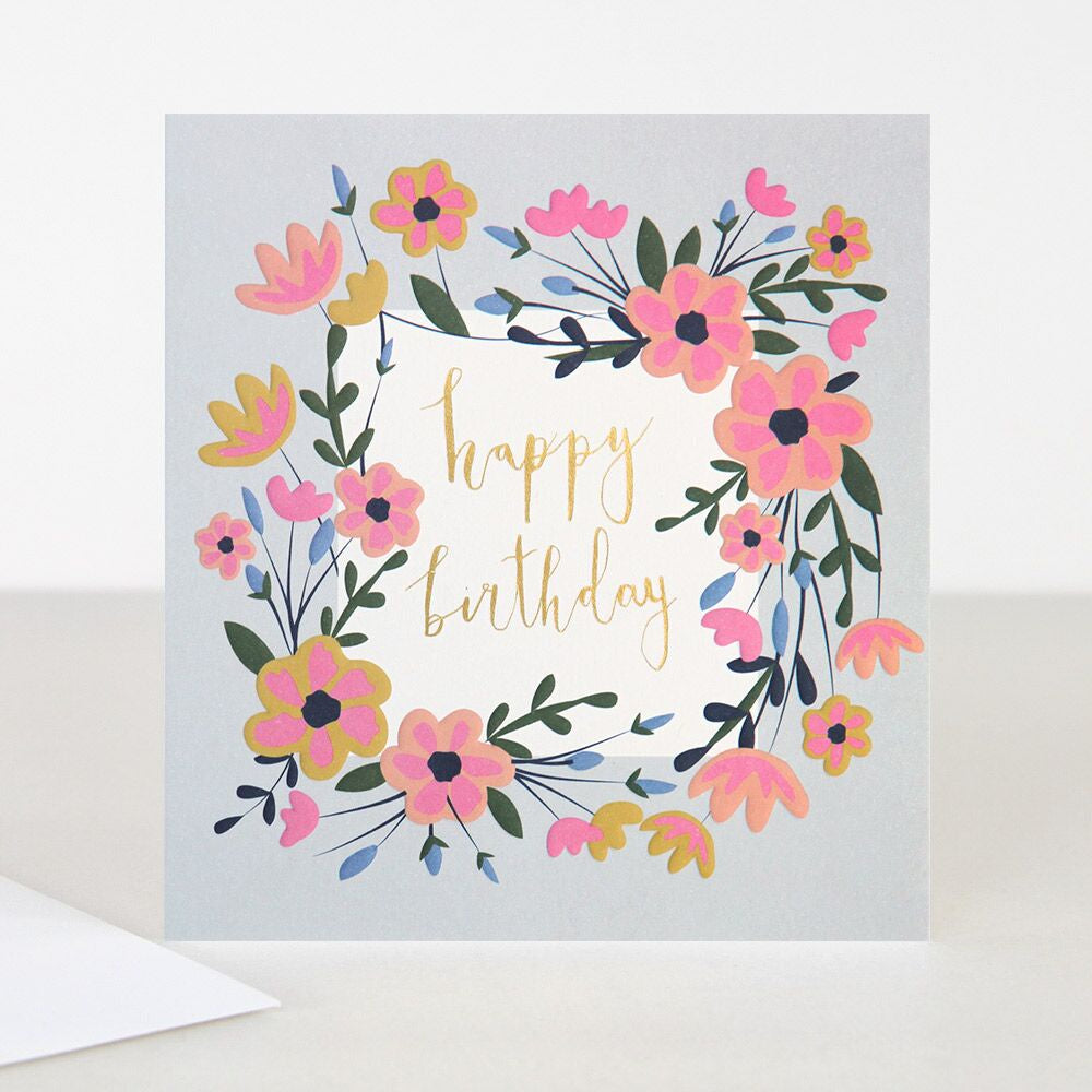 Happy Birthday Flowers Light Background Card