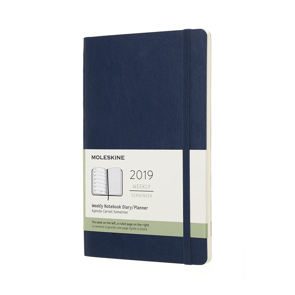 2019 Moleskine Large Weekly Planner Softcover Sapphire Blue