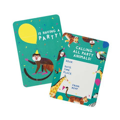 Party Animals Pack of 8 Party Invitations