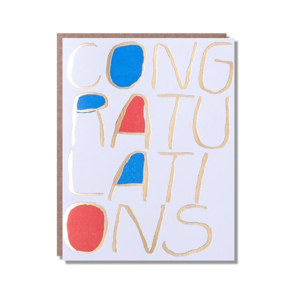 Red and Blue Big Congratulations Card