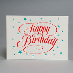 Happy Birthday Script Card Orange Text Blue Stars