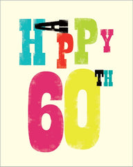 60th Birthday Ink Press Card