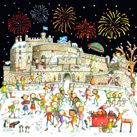 A Ceilidh on Edinburgh Castle Esplanade Pack of 6 Christmas Card