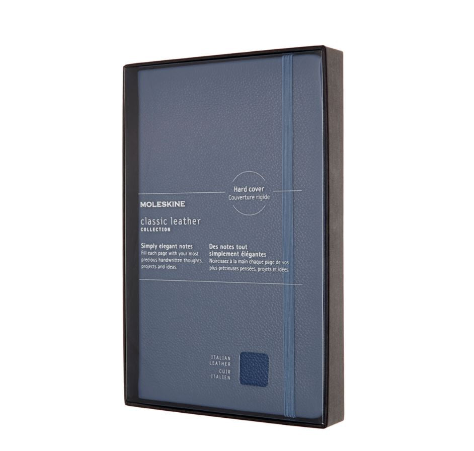 Moleskine Large Leather Ruled Open Box Notebook Forget Me Not