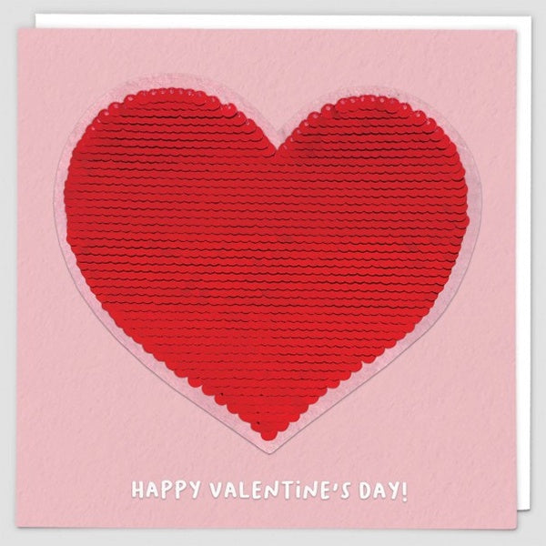 Red Heart Reversible Sequin Patch Valentines Card