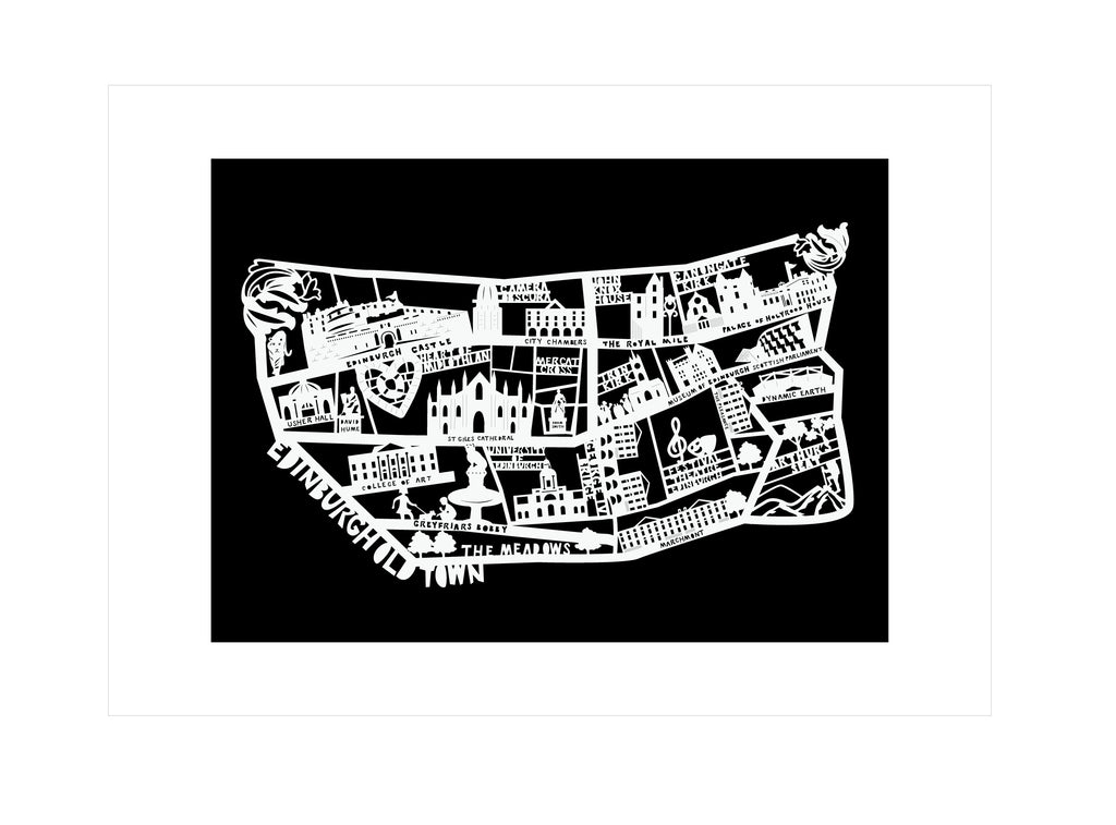 Lasercut A4 Edinburgh Old Town Map - White on Black