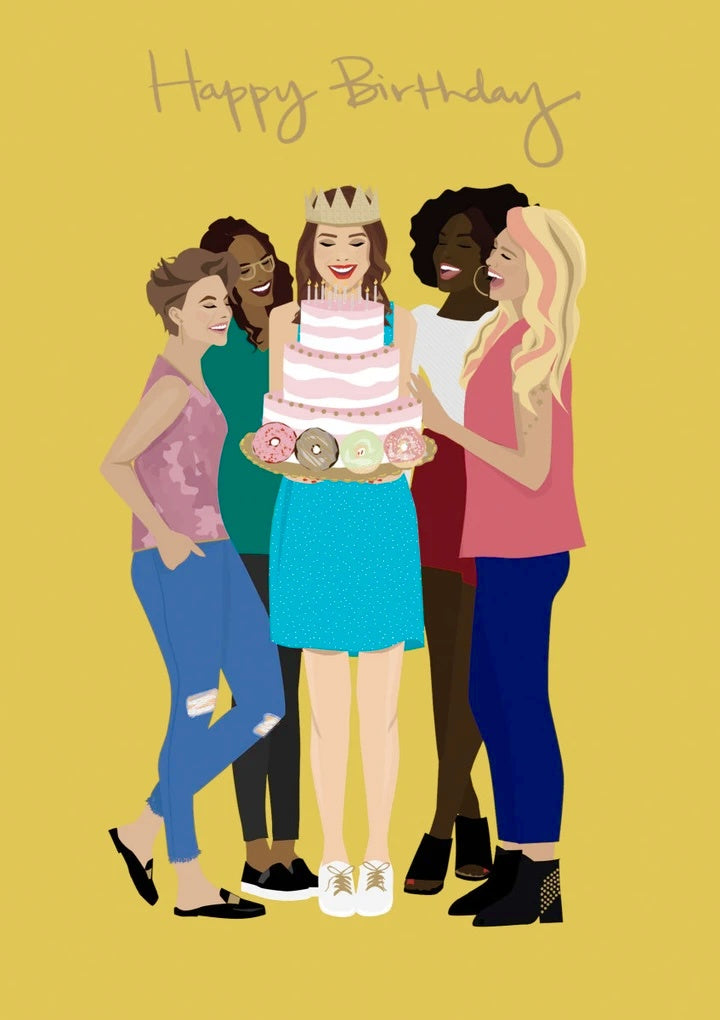Girls With Cake Birthday Card