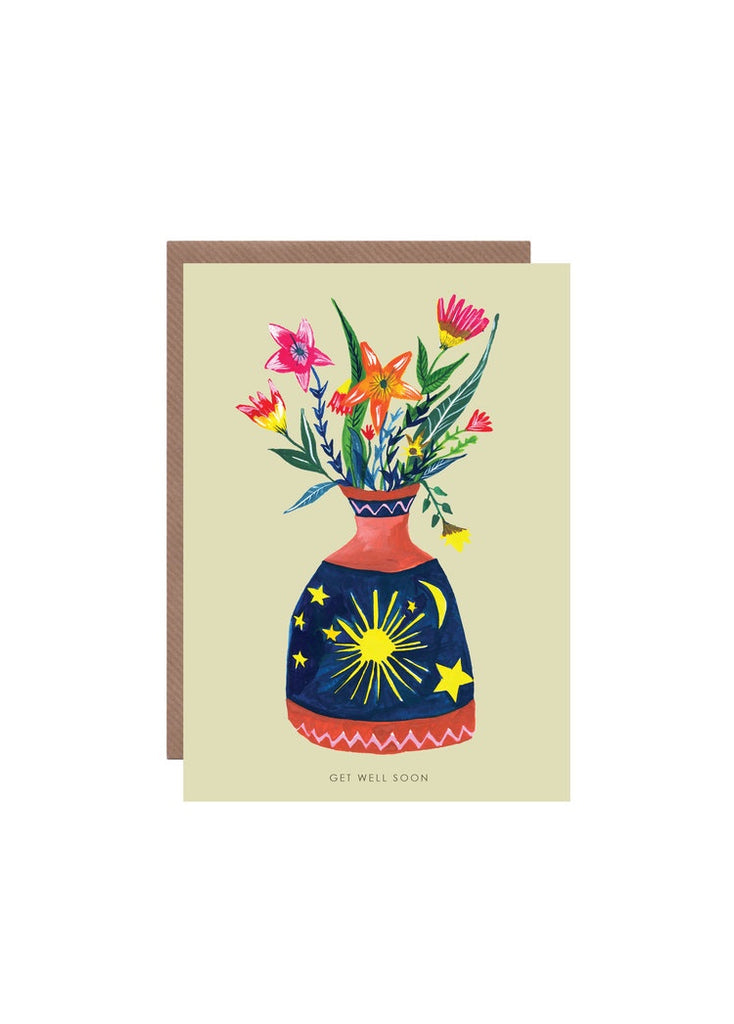 Bottle of Flowers Get Well Card