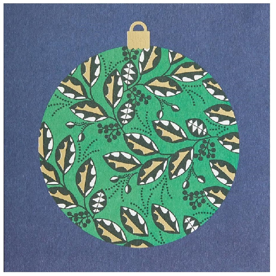 Holly Christmas Bauble Card