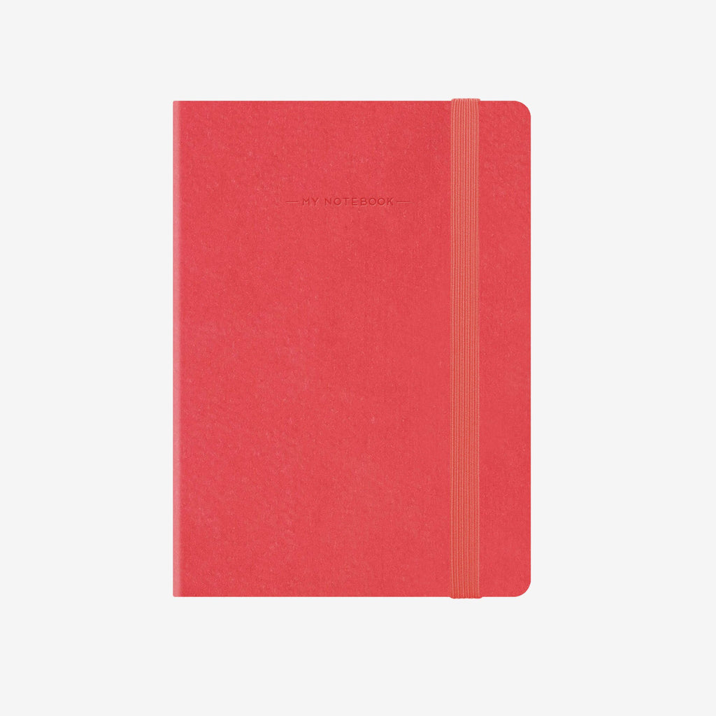 Small Plain Neon Coral Notebook