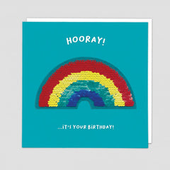 Hooray! Rainbow Sequin Patch Card