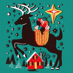 V&A Reindeer Illustration Pack of 8 Cards