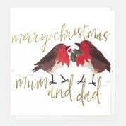MERRY CHRISTMAS MUM AND DAD ROBINS PAINTED