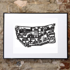 Lasercut A2 Edinburgh Old Town Map in Tube - Black