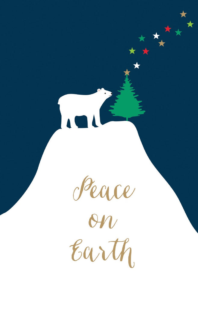 Polar Bear On Mountain Christmas Card Pack of 8