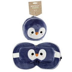 Relaxeazzz Cutiemals Penguin Travel Pillow And Eye Mask