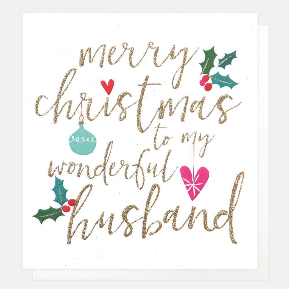 Husband Christmas Cards.Merry Christmas To My Wonderful Husband Holly Card
