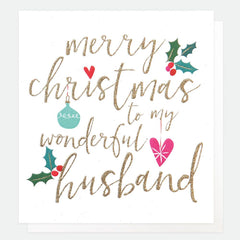 Merry Christmas to my Wonderful Husband Holly Card
