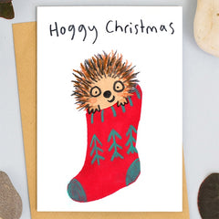 Hoggy Christmas Hedgehog in Stocking