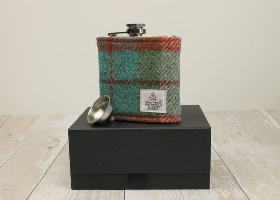 Green & Orange Check Boxed Hip Flask