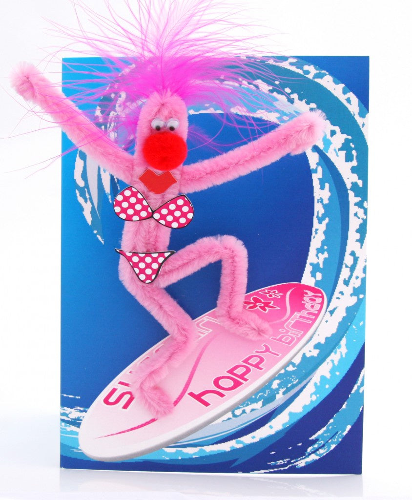 Puffy Surfer Girl Birthday Card