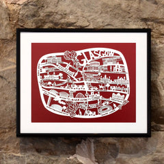 Lasercut A4 Glasgow Map - White on Red