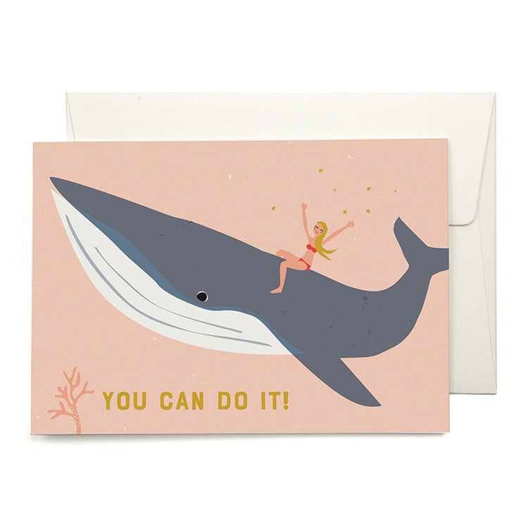 You Can Do It Whale Riding Card