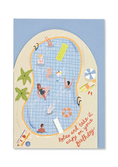Relax and Take It Easy Pool Party Cut Out Card