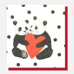 Two Pandas Heart Card