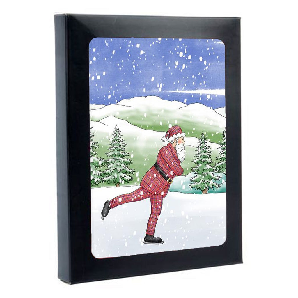 Tartan Santa Ice Skating Box of 6 Christmas Cards