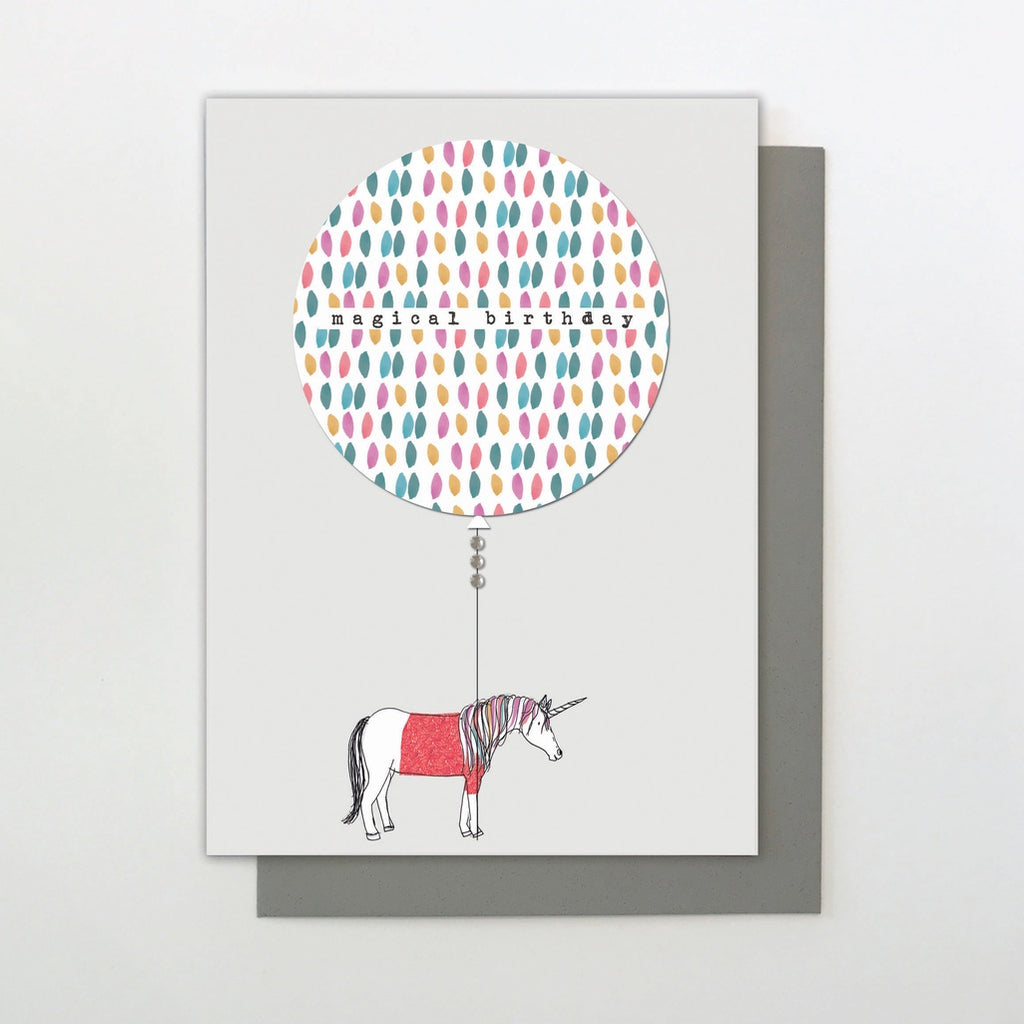 Magical Birthday Balloon Unicorn Card