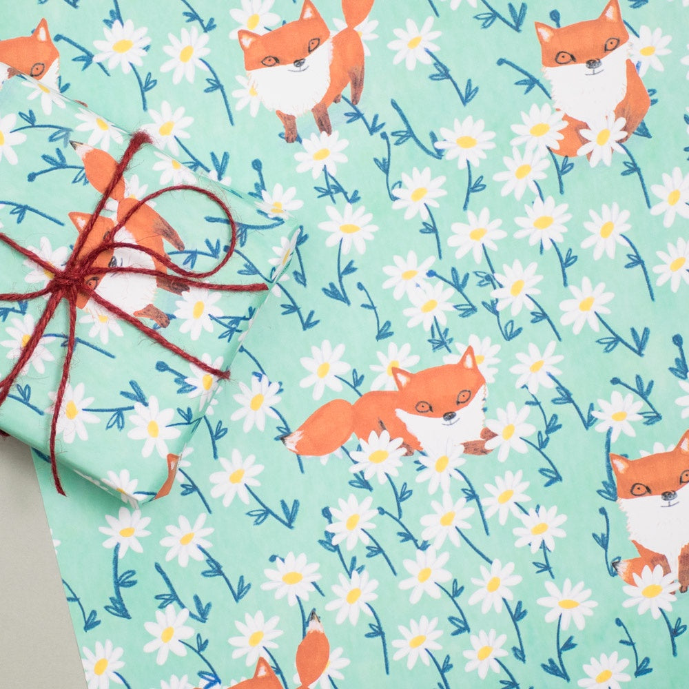 Foxes and Daisies Sheet Wrap