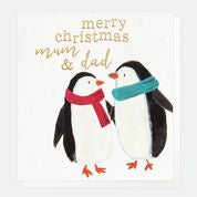 Merry Christmas Mum And Dad Penguins Card