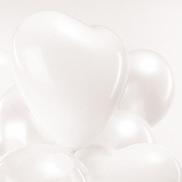 White Heart Pack of 12 Balloons
