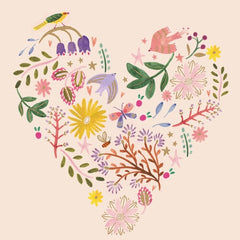 Flowers & Wildlife Heart Valentine's Day Card