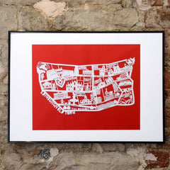 Lasercut A4 Edinburgh Old Town Map - White on Red