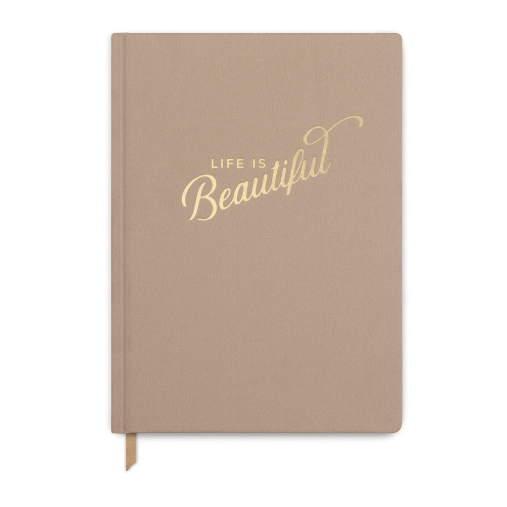 'Life is Beautiful' Brown Cloth Journal